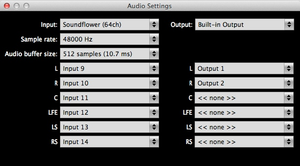 ALM5.1 Audio Loudness Meter Plugin Audio Settings